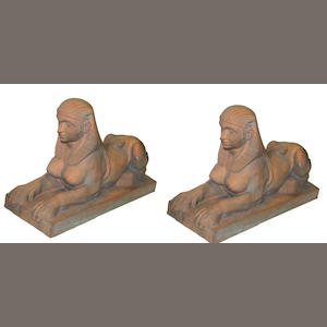 A pair of terracotta sphinxes late 20th century
