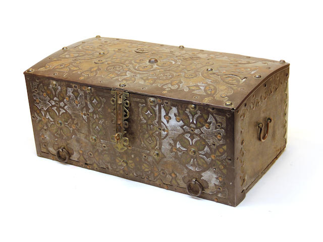 A Mauritanian brass, copper and iron mounted hardwood coffer 19th century