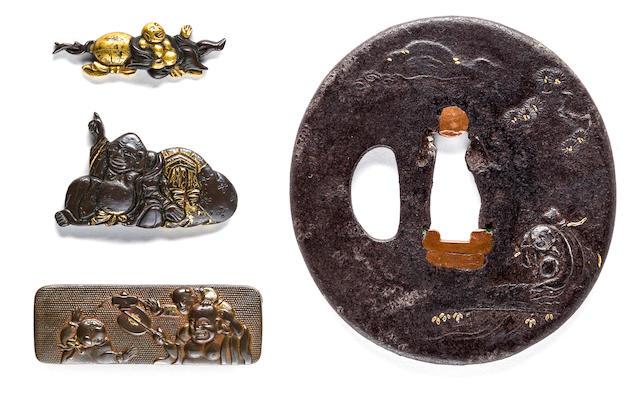 An iron tsuba, a pouch clasp and two menuki Edo period (18th-19th century)