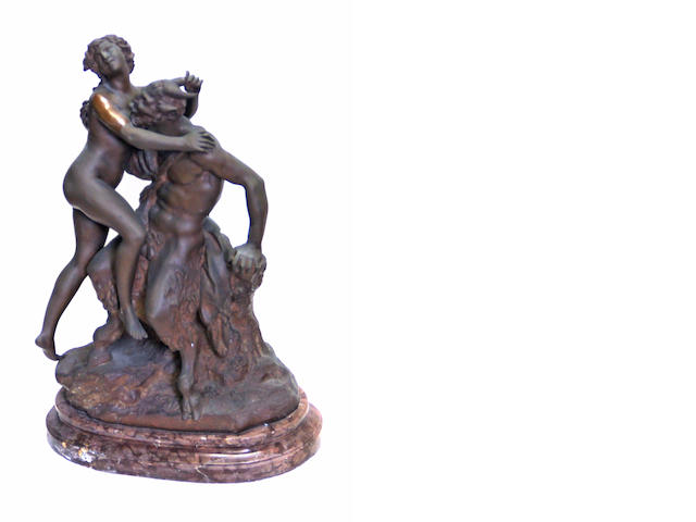A French patinated bronze erotic group of Bacchante and Satyr after a model by Claude Michel Clodion (1738-1814) <BR />late 19th century