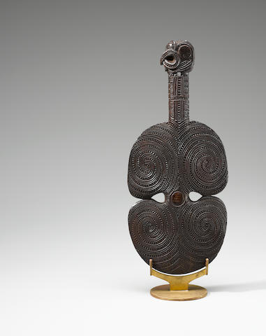 Fine and Rare Maori Hand Club, New Zealand Carved by Patoromu Tamatea ca. 1870-80