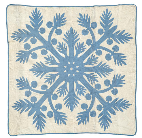 Blue and White Breadfruit Quilt, Hawaiian Islands 82 by 85in (208.3 x 216cm)
