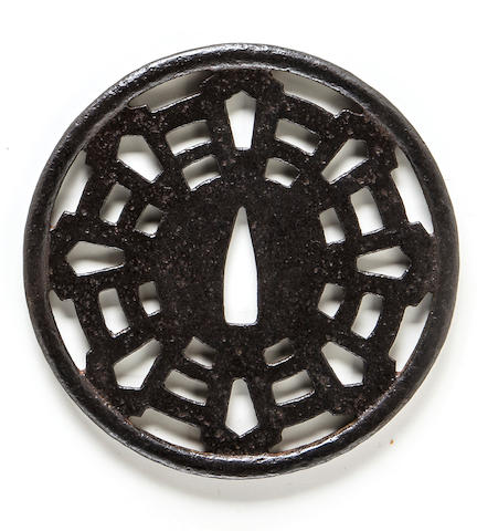 Katchushi tsuba with eight Buddhist ken and kicho certificate