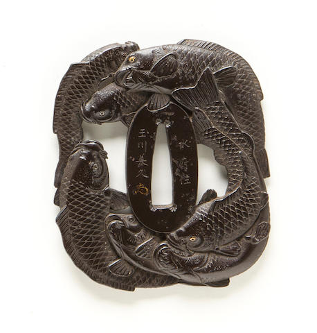 An iron tsuba of carp  By Yoshihisa, Edo period (19th century)