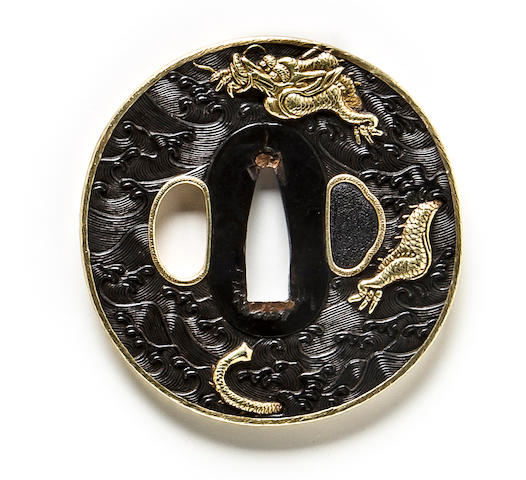 Tsuba with dragon in waves, gold rim