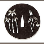 Katchushi tsuba with pierced design of bamboo