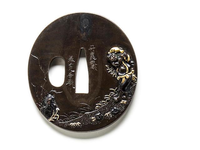 A kinko tsuba By Tankasai Taizan Mitsutoshi