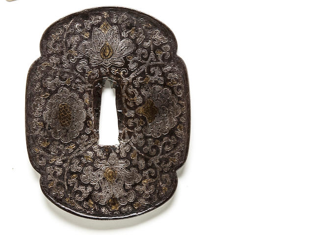 An inlaid iron tsuba Edo period (17th century)