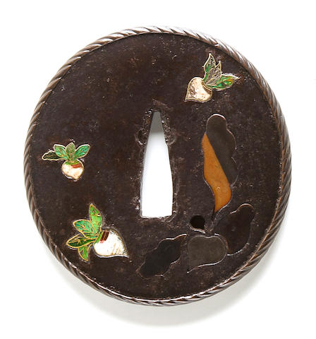 An enamel and soft-metal inlaid tsuba By Kazumasa, Edo period (19th century)
