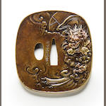 A copper tsuba By Katsuaki, Edo period (19th century)