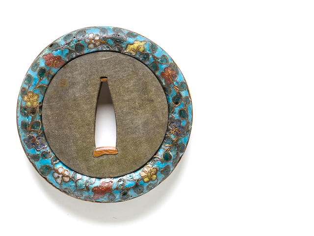 A silver and cloisonne-enamel tsuba Meiji period (late 19th century)