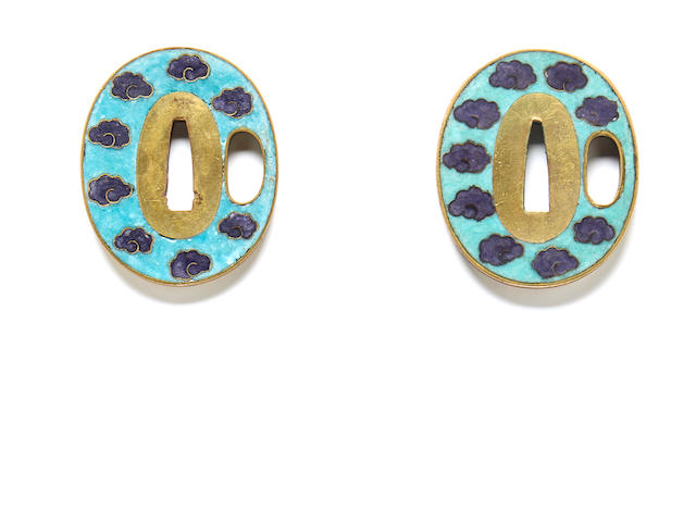 A pair of small cloisonne-enamel tsuba Meiji period (late 19th century)