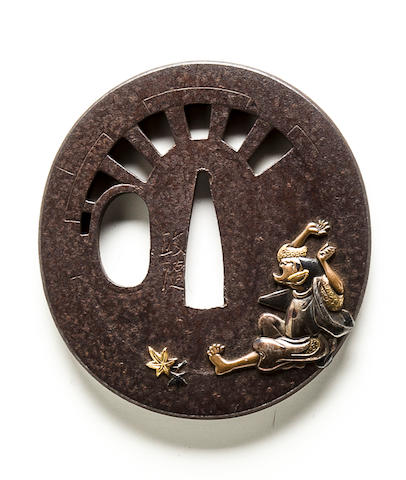 A Hamano school inlaid iron tsuba Edo period (19th century)