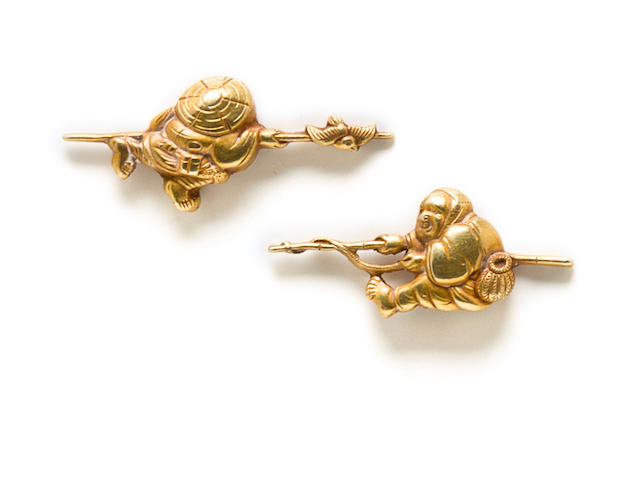 A pair of Mito school gold menuki Edo period (19th century)