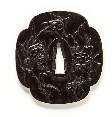 A large iron tsuba Edo period (19th century)
