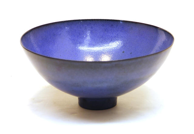 An American blue glazed earthenware bowl James Lovera (American, 1920)