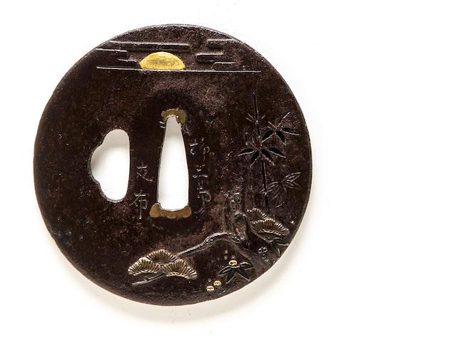 An inlaid iron tsuba By Ryugyokudo Tomonobu, Edo period (19th century)