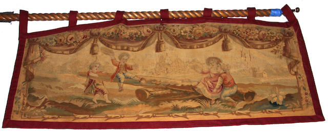 A French tapestry fragment of two children and another Gothic style printed tapestry  19th/20th century