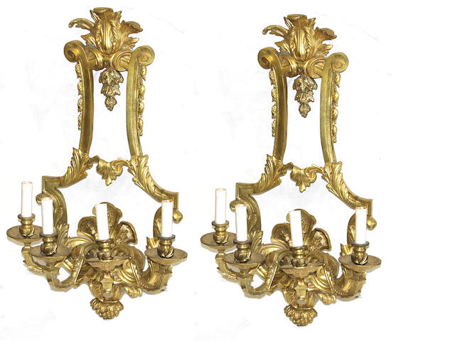 A pair of Louis XVI style wall appliques
