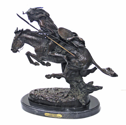 A patinated bronze equestrian group: The Cheyenne after a model by Frederic Sackrider Remington (1861-1909) late 20th century