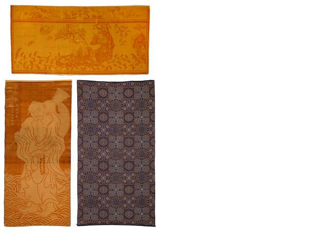 Two deep yellow cut velvet panels Late Qing/Republic period