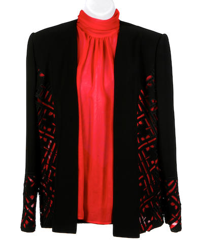 A Fe Zandi black and red silk jacket and red silk blouse