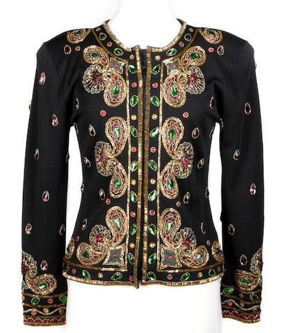 An Adrienne Vittadini beaded knit jacket