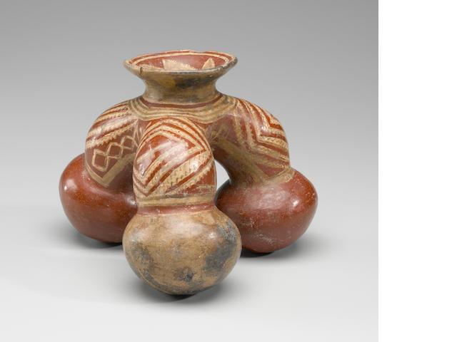 Chupicaro Polychromed Tripod Vessel,<BR />Protoclassic, ca. 100 B.C. - A.D. 250