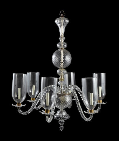An Anglo-Indian molded and cut glass eight light chandelier  19th century and later