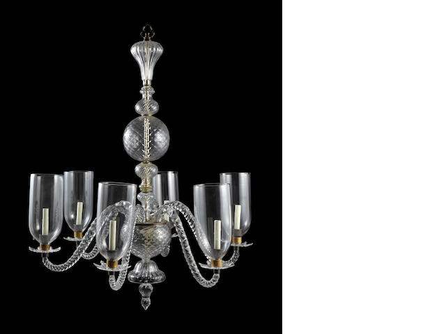 An Anglo-Indian molded and cut glass eight light chandelier <BR />19th century and later