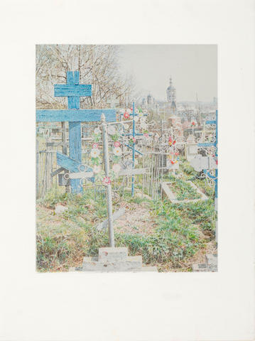 Oleg Vasiliev (Russian, born 1931) The Churchyard, 2006 15 x 11 1/4in. (38.1 x 28.5cm)
