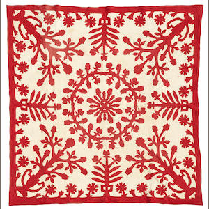 Red and White Floral Quilt, Hawaiian Islands
