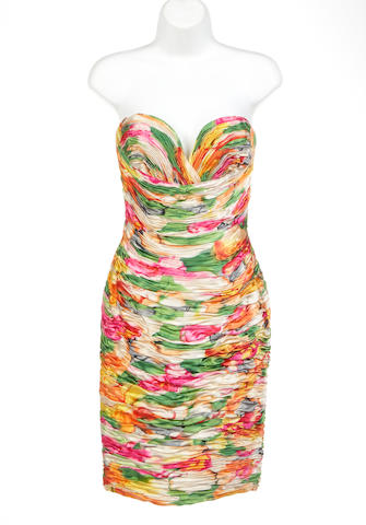 A Vicky Tiel multi colored rauched bustier cocktail dress