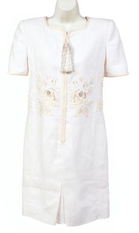 A Valentino Night white linen tassled zip front short sleeve dress
