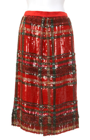 An Oscar De La Renta red and multi colored satin and beaded skirt