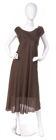 A Madam Gres brown silk chiffon dress