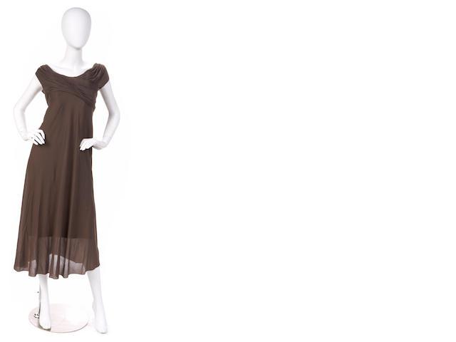 A Madam Gres brown silk chiffon dress