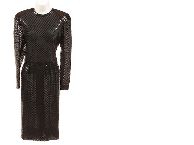 A Givanchy black sequin long sleeve dress