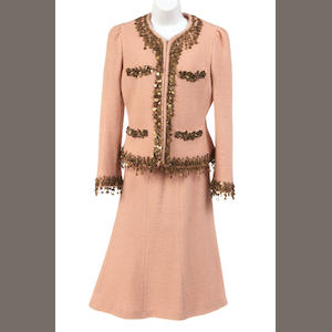 A Moschino peach and gold sequin trimmed wool skirt suit