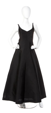 A Balenciaga black silk file sleeveless gown