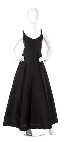 A Balenciaga black silk file sleeveless gown
