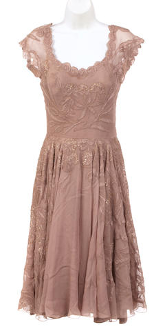 A Don Loper gold lace and taupe chiffon dress