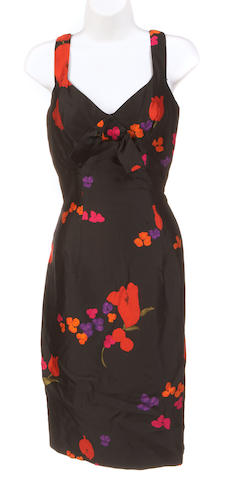 An Estevez black and multi-color floral sleeveless dress