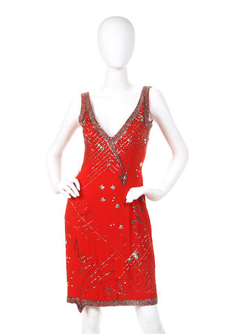 A Fabrice red silk and silver beaded dress