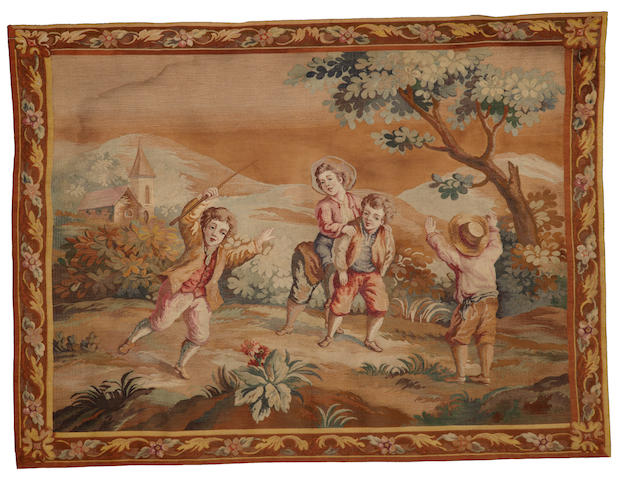 A French tapestry possibly Aubusson <BR />second half 19th century