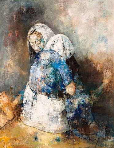 Jean Jansem (born 1920) Femmes cousant 57 1/2 x 45in. (146 x 114.3cm) Painted in 1960