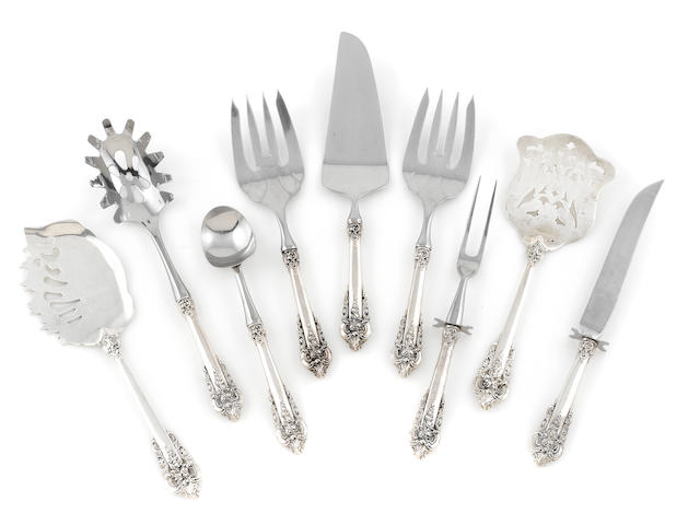 A set of American  sterling silver  serving flatware Wallace Silversmiths, Inc., Wallingford, CT,  late 20th century