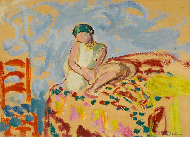 Henri Lebasque (1865-1937) Seated woman 9 1/2 x 13in. (24.1 x 33cm)
