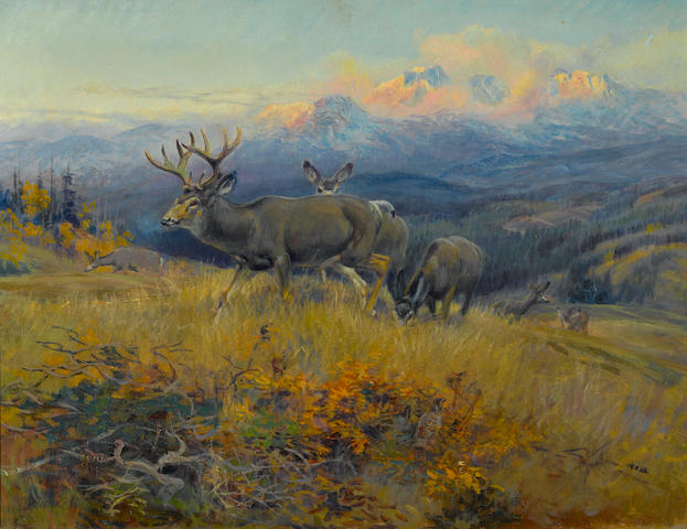 Charles Marion Russell (American, 1864-1926) Deer in landscape 17 x 22in