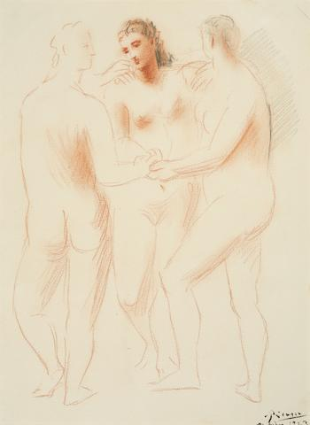 Pablo Picasso, Trois Nus Feminins, pencil and sanguine on paper, 14x10in